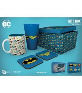 Coffret Dc Comics Logos Mug + verre + Sous Verre