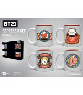 Set de 4 Mugs Espresso BT21 Icons