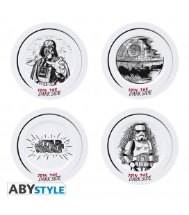 Set de 4 assiettes en Porcelaine Join the Dark Side