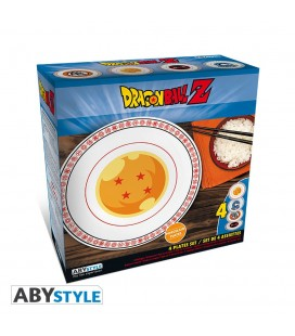 Set de 4 assiettes en Porcelaine Dragon Ball Emblèmes