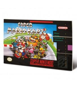 Tableau bois Super Mario Kart Super NES Cover 20X30
