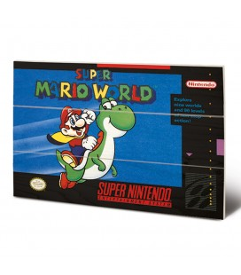 Tableau bois Super Mario World Super NES Cover 20X30