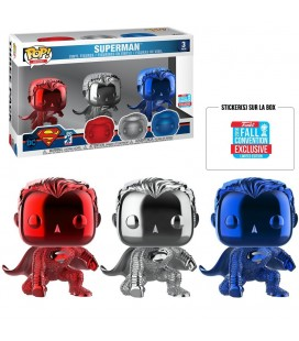 Pop! Superman Chrome Fall Convention 2018 Edition Limitée [3-Pack]